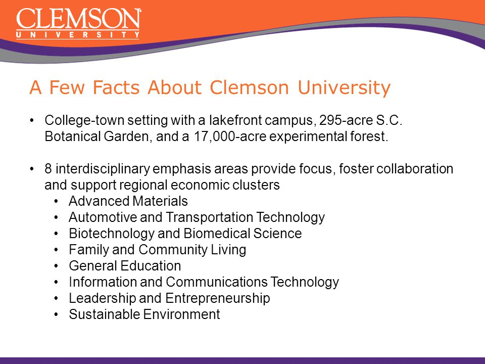 A Few Facts About Clemson University