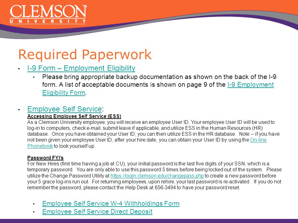 Welcome to clemson university or ppt video online download for New job documents required