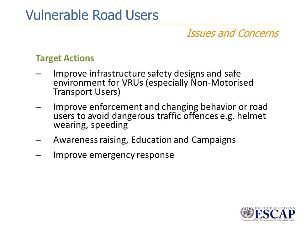 Vulnerable Road Users Issues and Concerns Target Actions