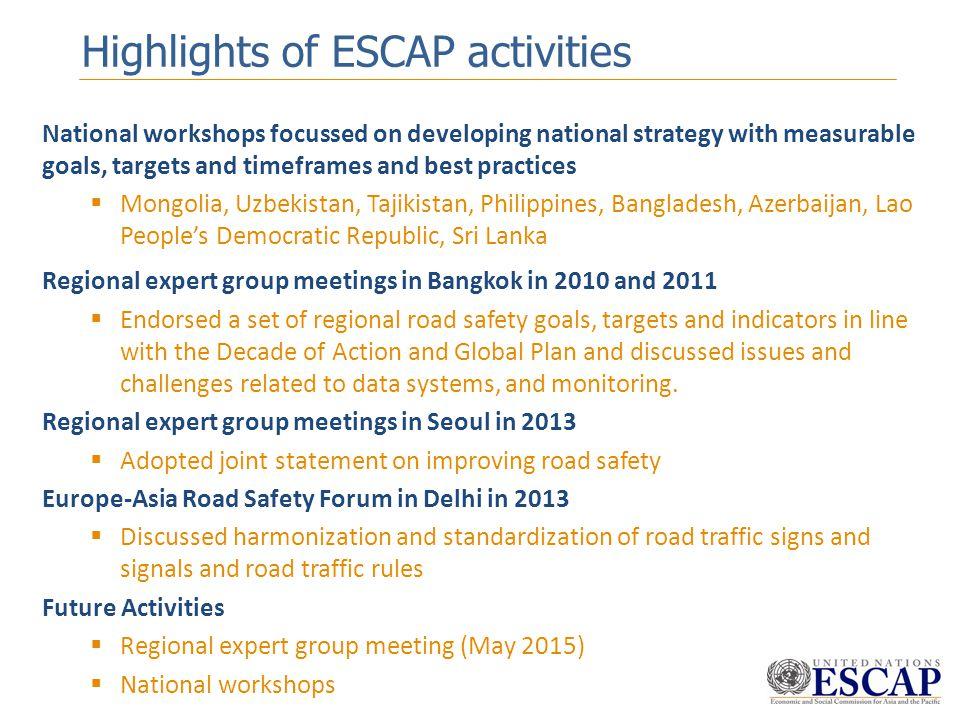 Highlights of ESCAP activities