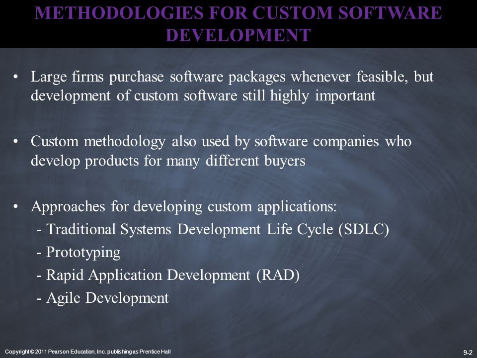 METHODOLOGIES FOR CUSTOM SOFTWARE DEVELOPMENT