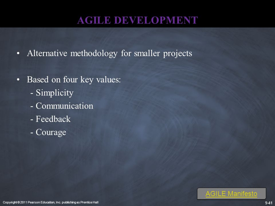 AGILE DEVELOPMENT Alternative methodology for smaller projects