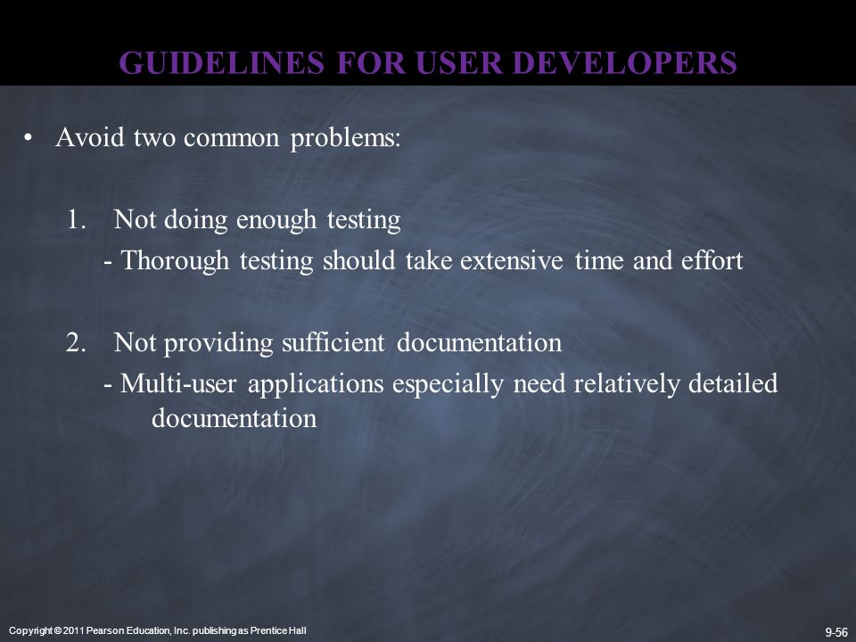GUIDELINES FOR USER DEVELOPERS