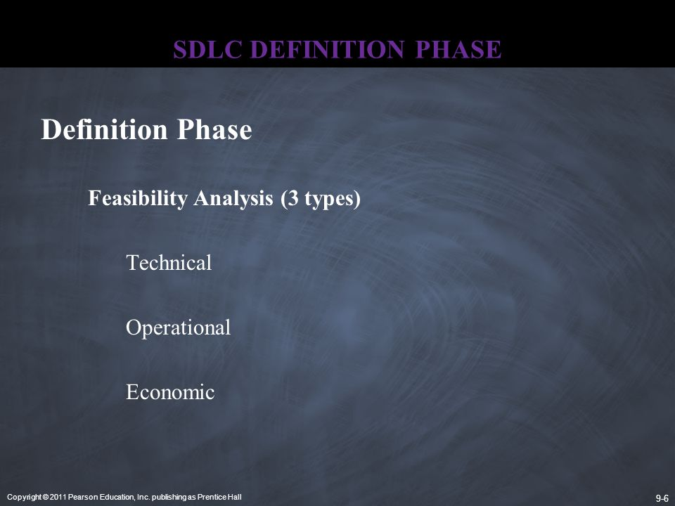Definition Phase SDLC DEFINITION PHASE Feasibility Analysis (3 types)