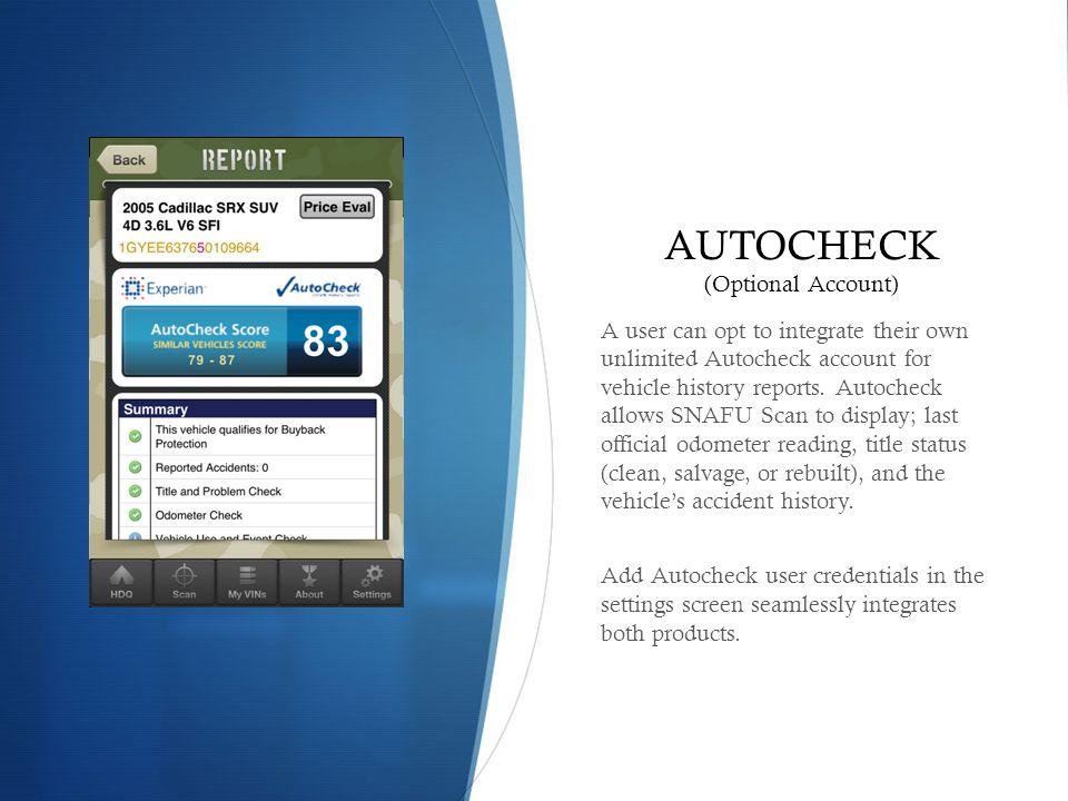 AUTOCHECK (Optional Account)