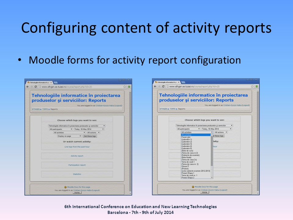 Configuring content of activity reports