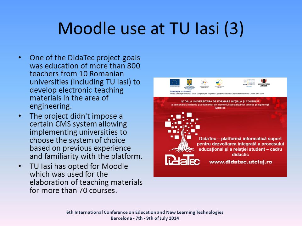 Moodle use at TU Iasi (3)