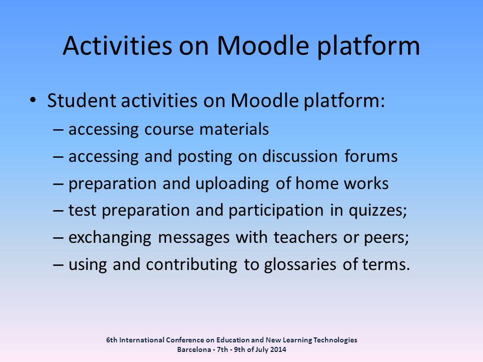 Activities on Moodle platform