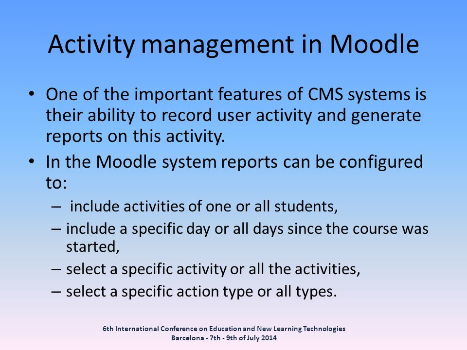 Activity management in Moodle