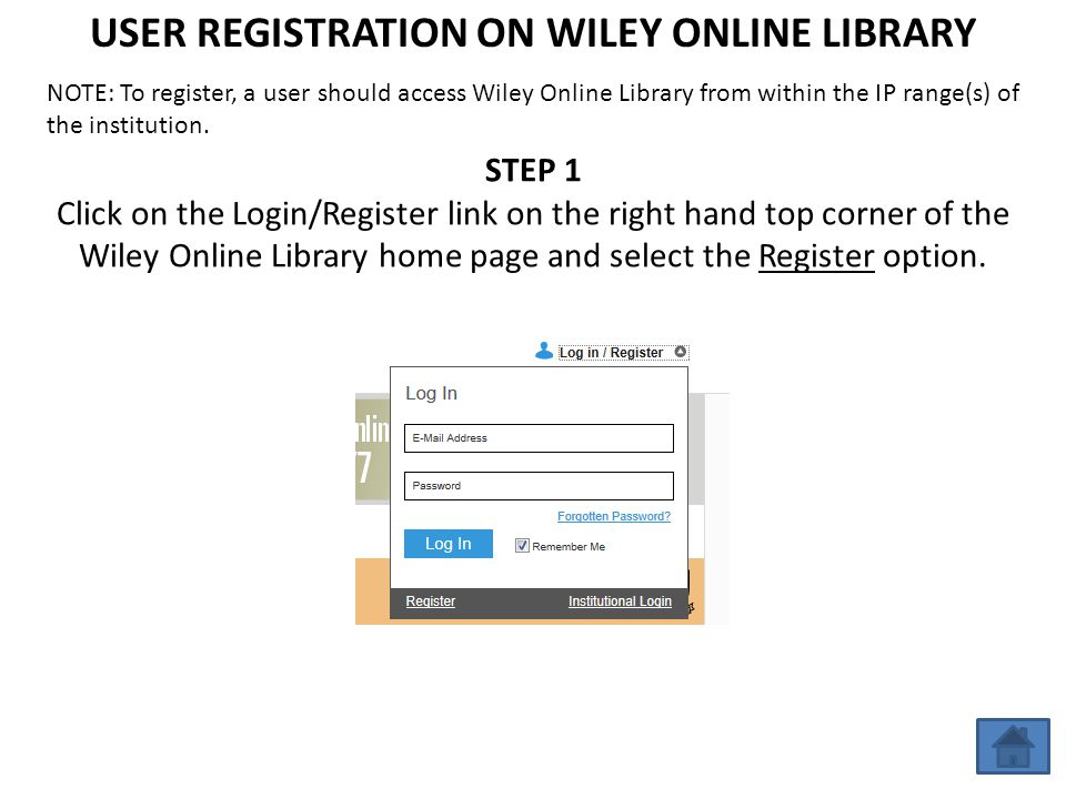USER REGISTRATION ON WILEY ONLINE LIBRARY