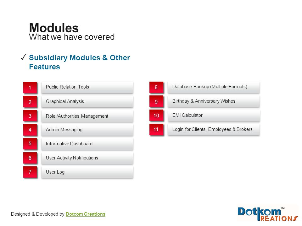 Modules What we have covered ✓ Subsidiary Modules & Other Features 1 8