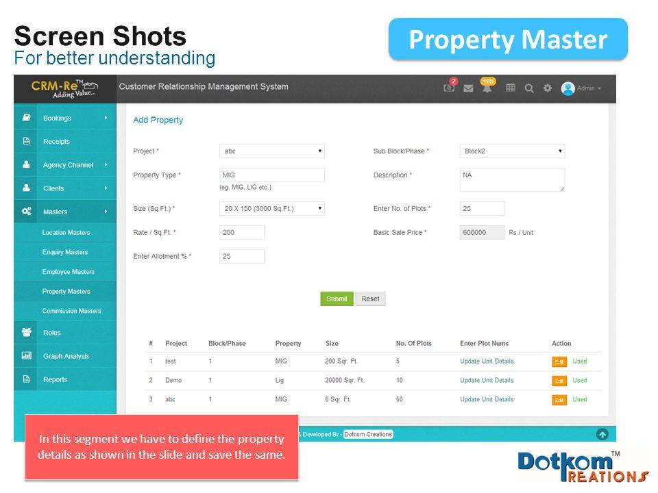 Property Master Screen Shots For better understanding