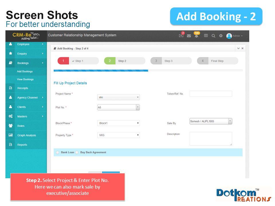 Add Booking - 2 Screen Shots For better understanding