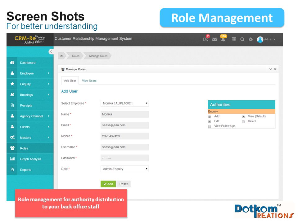Role management for authority distribution to your back office staff