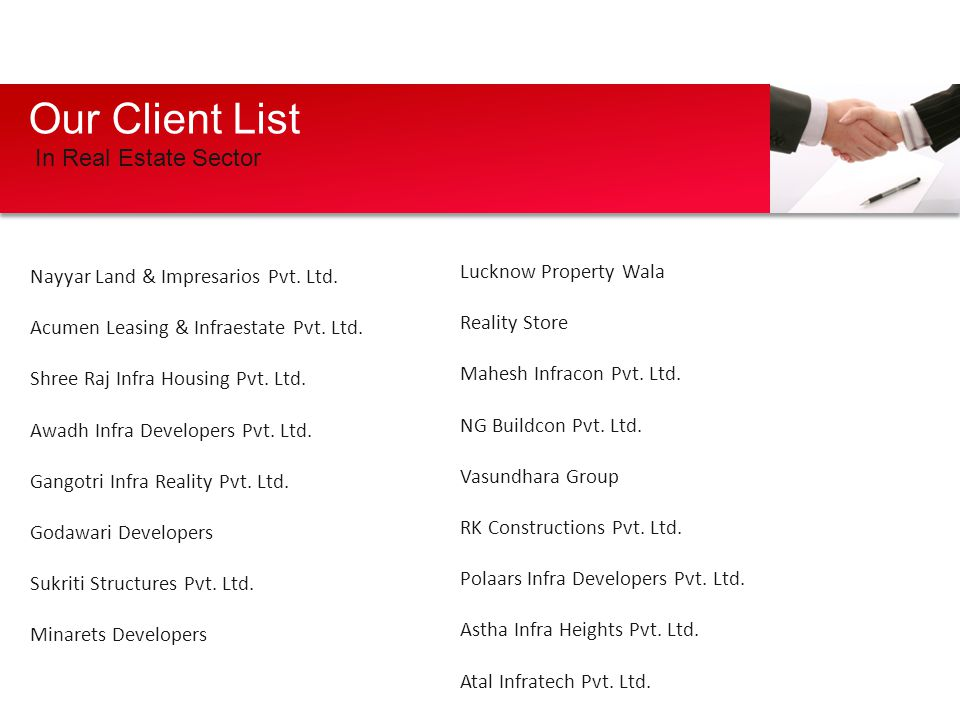 Our Client List In Real Estate Sector Lucknow Property Wala