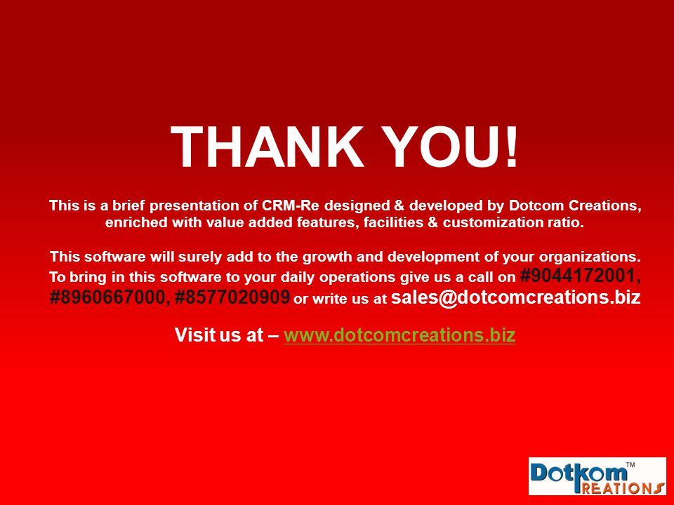 Visit us at – www.dotcomcreations.biz