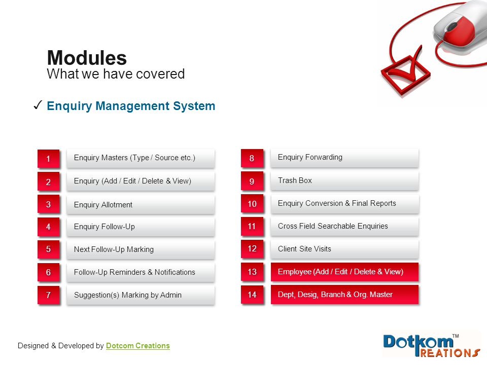 Modules What we have covered ✓ Enquiry Management System 1 8 2 9 3 10