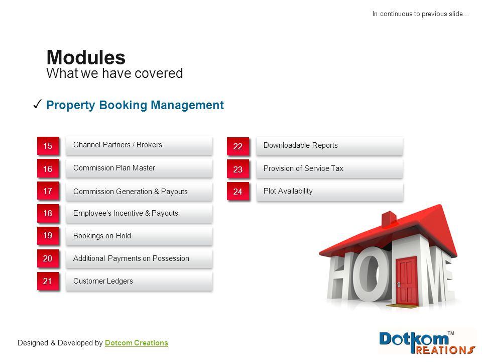 Modules What we have covered ✓ Property Booking Management 15 22 16 23