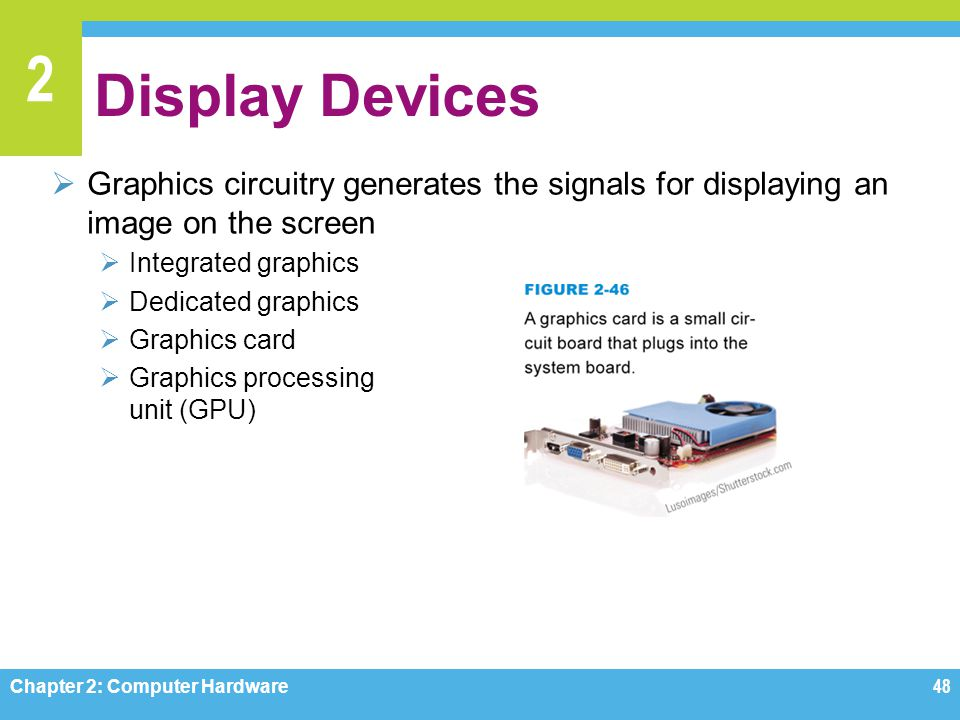 Display Devices Graphics circuitry generates the signals for displaying an image on the screen. Integrated graphics.