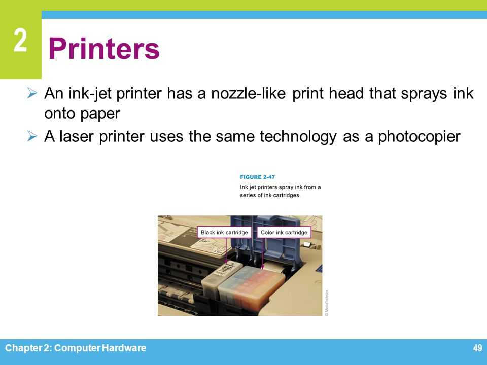 Printers An ink-jet printer has a nozzle-like print head that sprays ink onto paper. A laser printer uses the same technology as a photocopier.