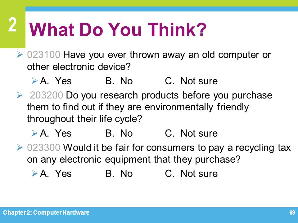 What Do You Think 023100 Have you ever thrown away an old computer or other electronic device A. Yes B. No C. Not sure.