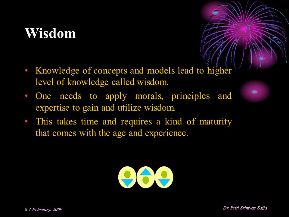 Wisdom Knowledge of concepts and models lead to higher level of knowledge called wisdom.