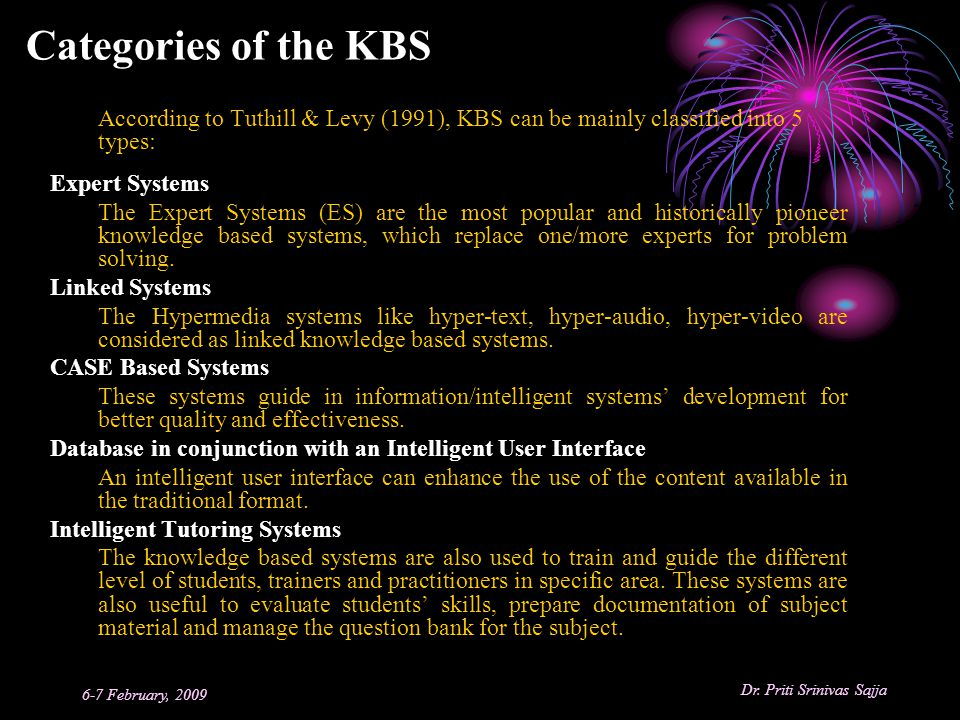Categories of the KBS Expert Systems