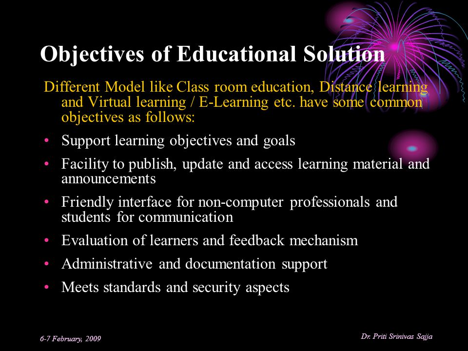 Objectives of Educational Solution