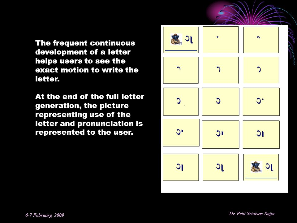The frequent continuous development of a letter helps users to see the exact motion to write the letter.