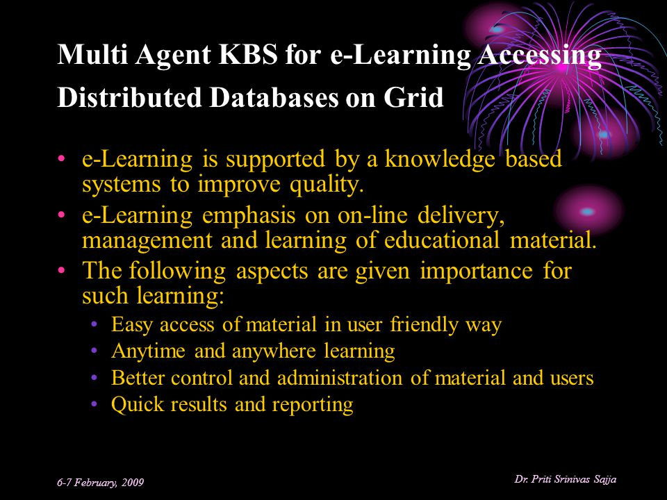 Multi Agent KBS for e-Learning Accessing Distributed Databases on Grid
