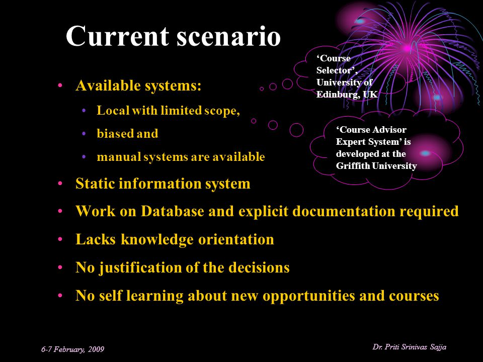 Current scenario Available systems: Static information system