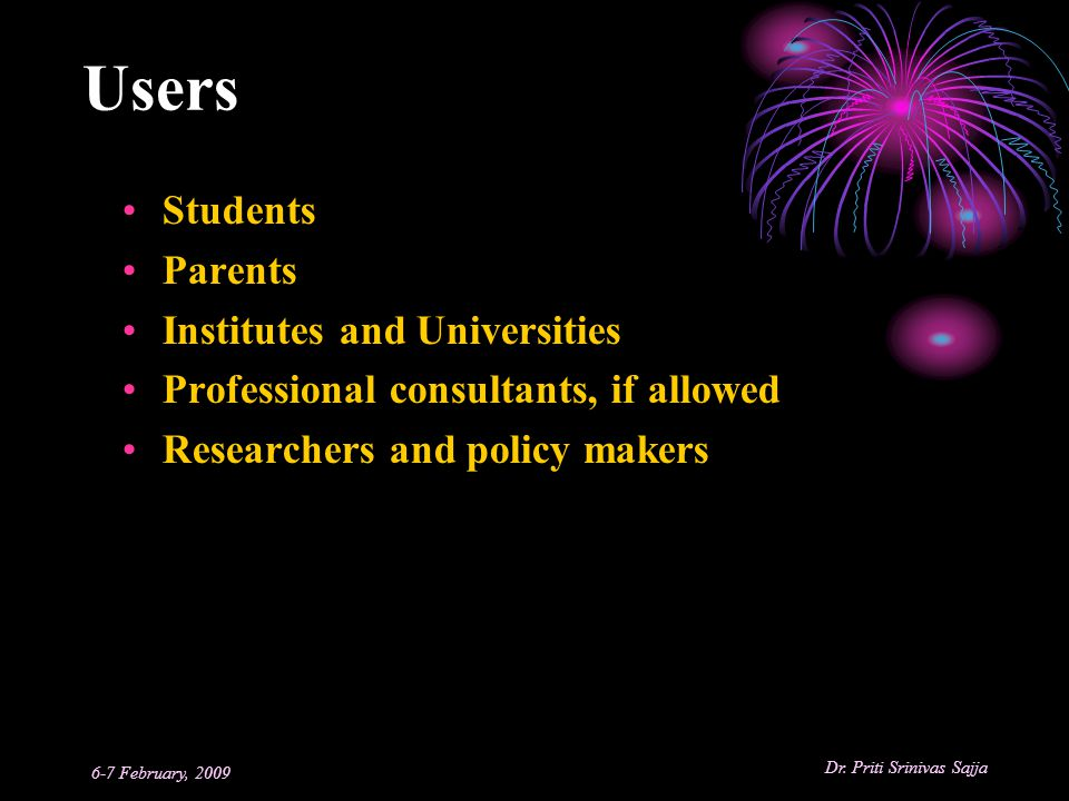 Users Students Parents Institutes and Universities