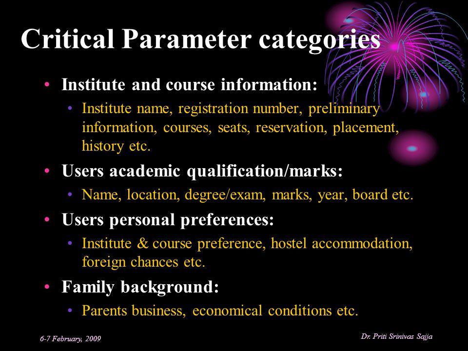 Critical Parameter categories
