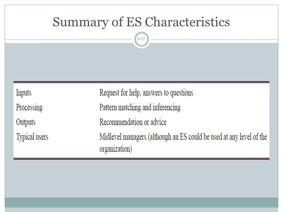Summary of ES Characteristics