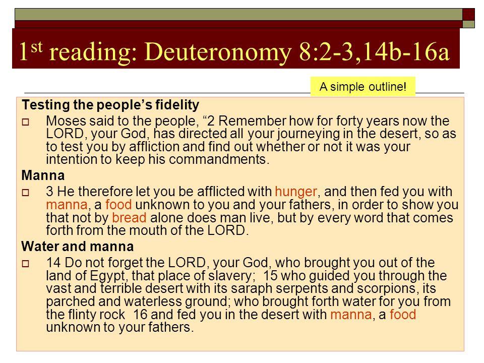 1st reading: Deuteronomy 8:2-3,14b-16a