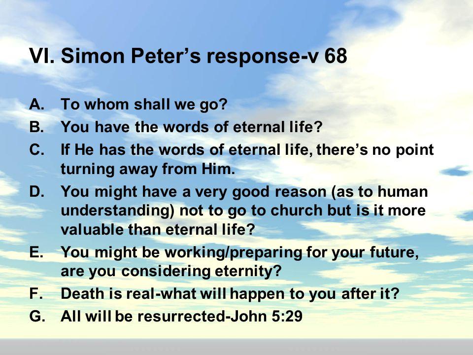 VI. Simon Peter's response-v 68
