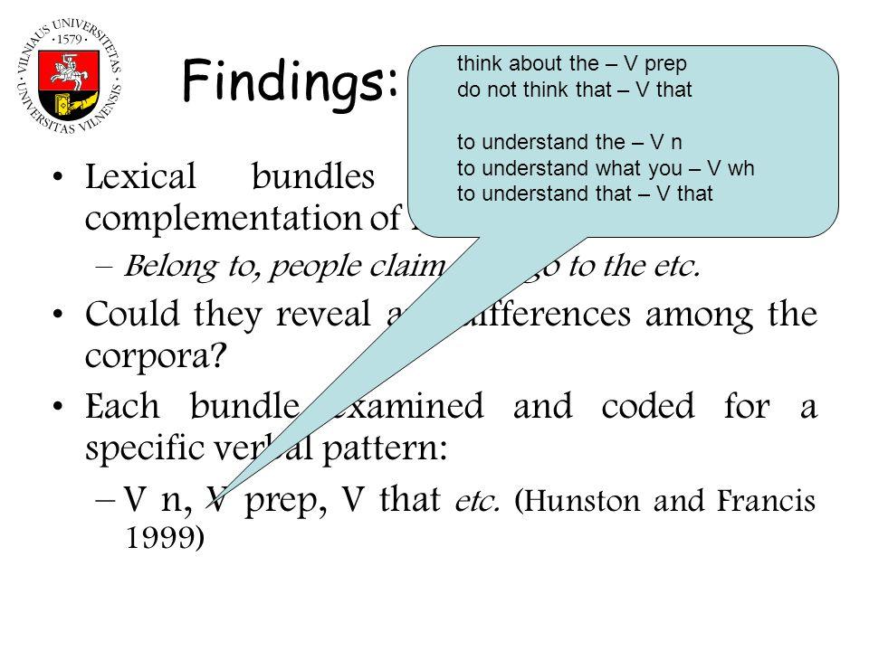Findings: verbal bundles