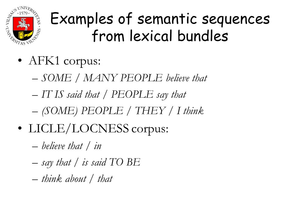 Examples of semantic sequences from lexical bundles