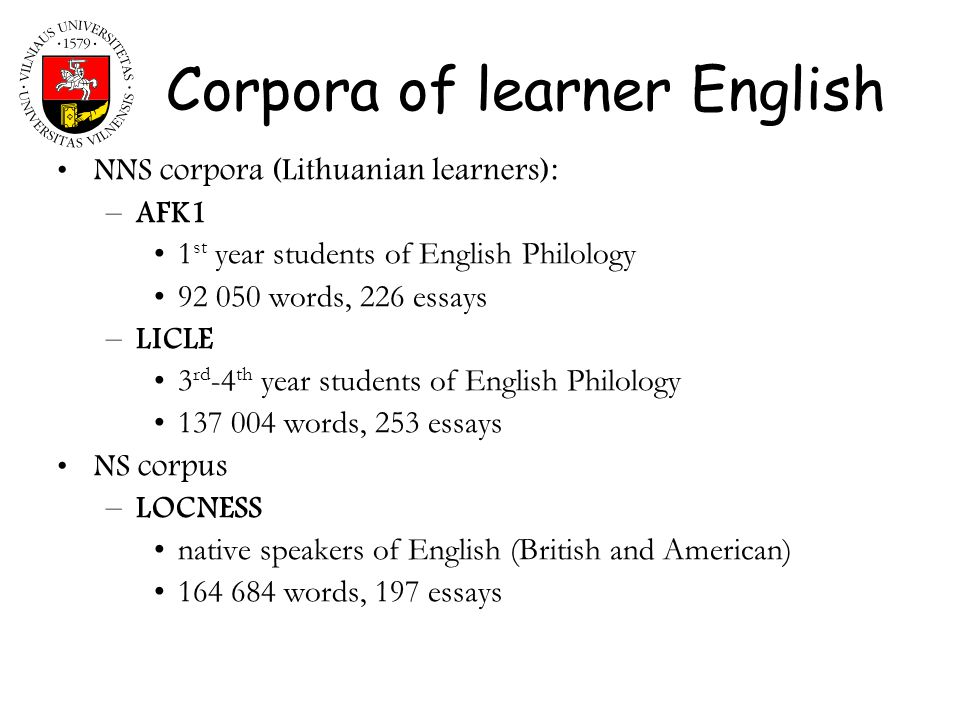 Corpora of learner English