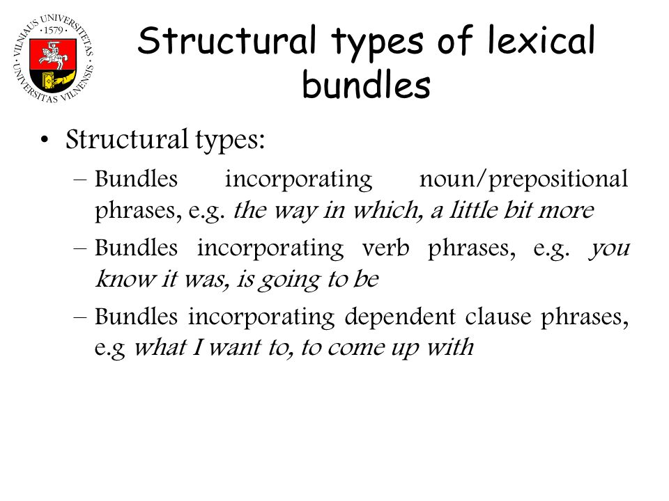 Structural types of lexical bundles