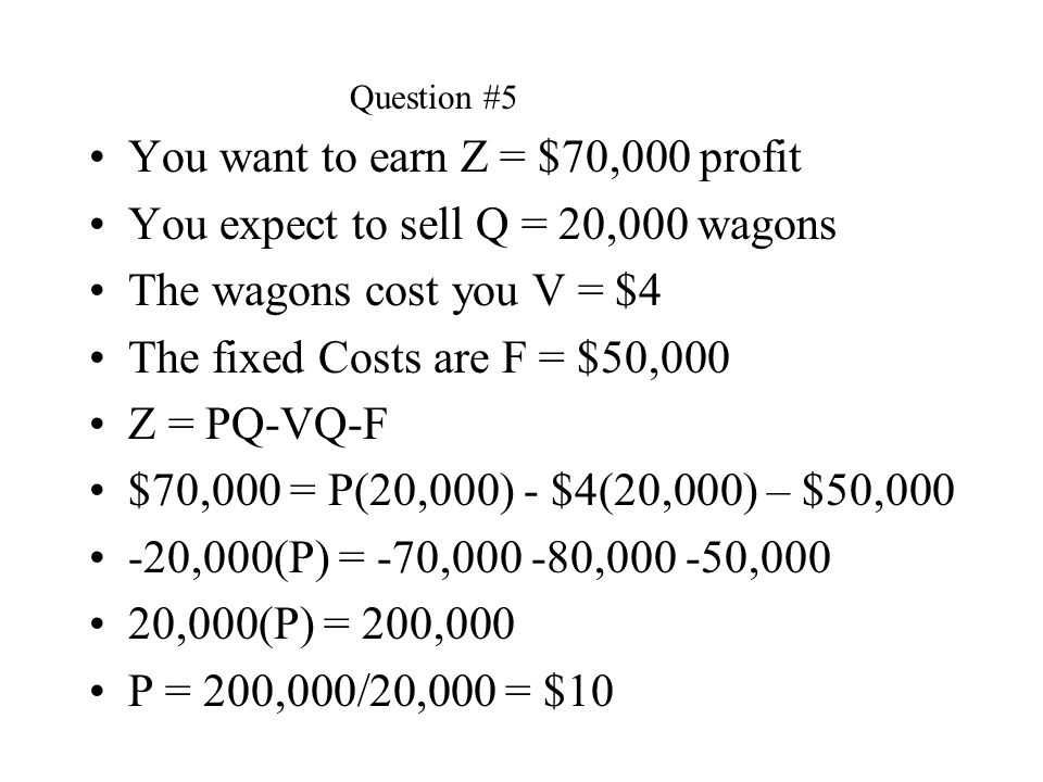 You want to earn Z = $70,000 profit