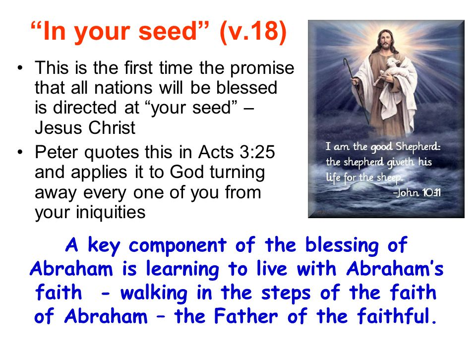 In your seed (v.18) This is the first time the promise that all nations will be blessed is directed at your seed – Jesus Christ.