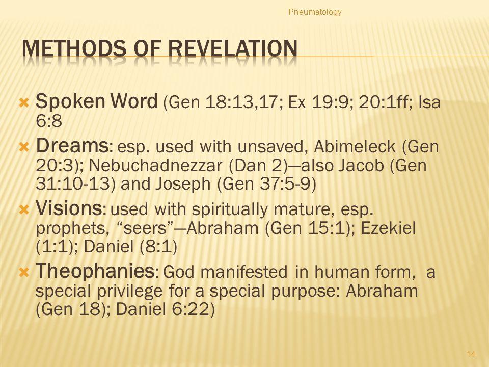 Pneumatology Methods of Revelation. Spoken Word (Gen 18:13,17; Ex 19:9; 20:1ff; Isa 6:8.