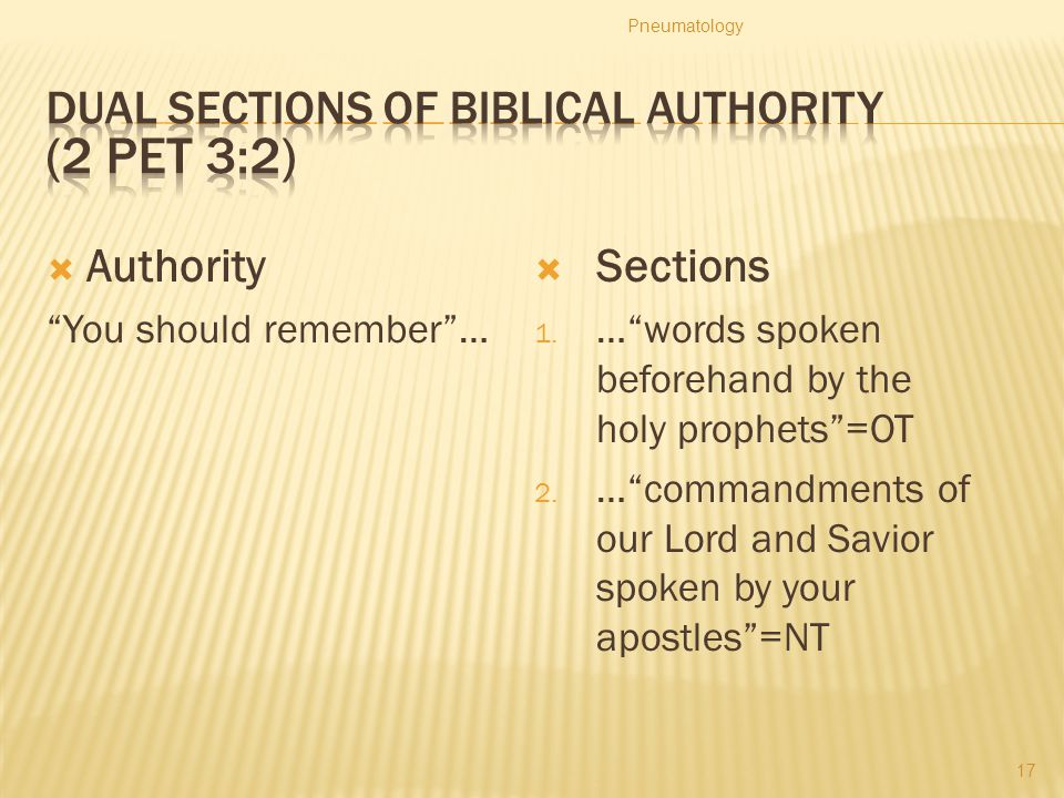 Dual Sections of Biblical Authority (2 Pet 3:2)