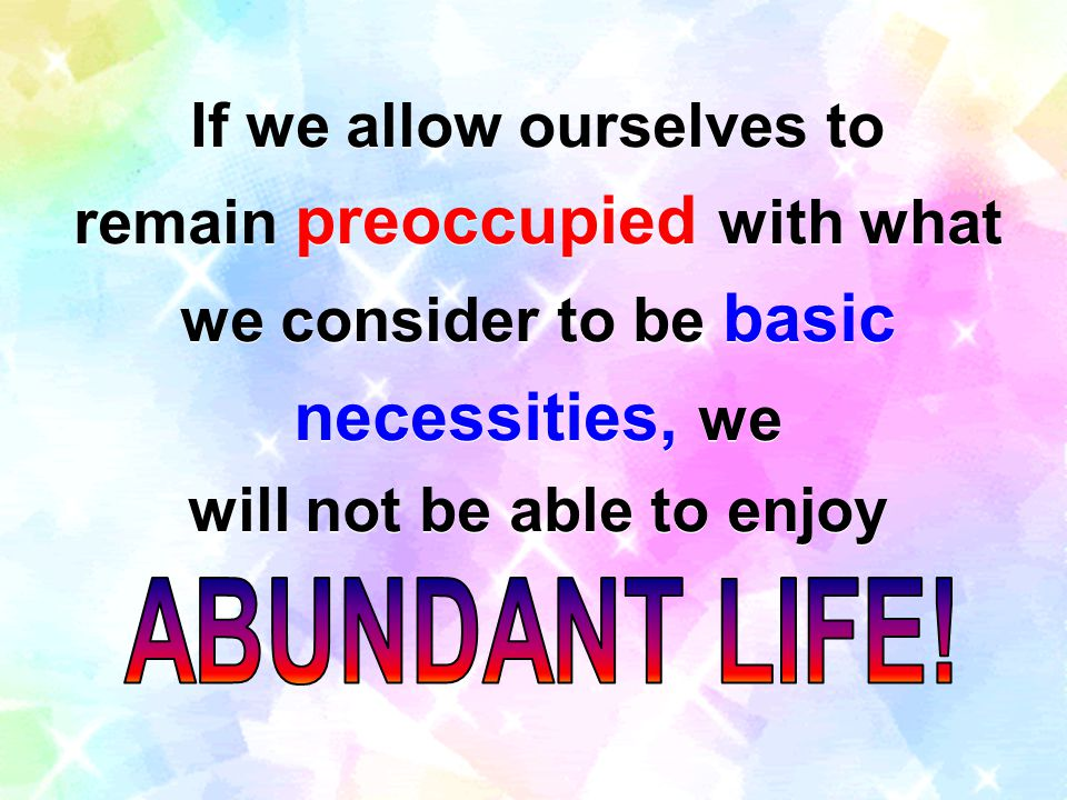 If we allow ourselves to