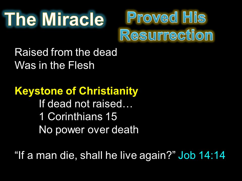 The Miracle Proved His Resurrection Raised from the dead