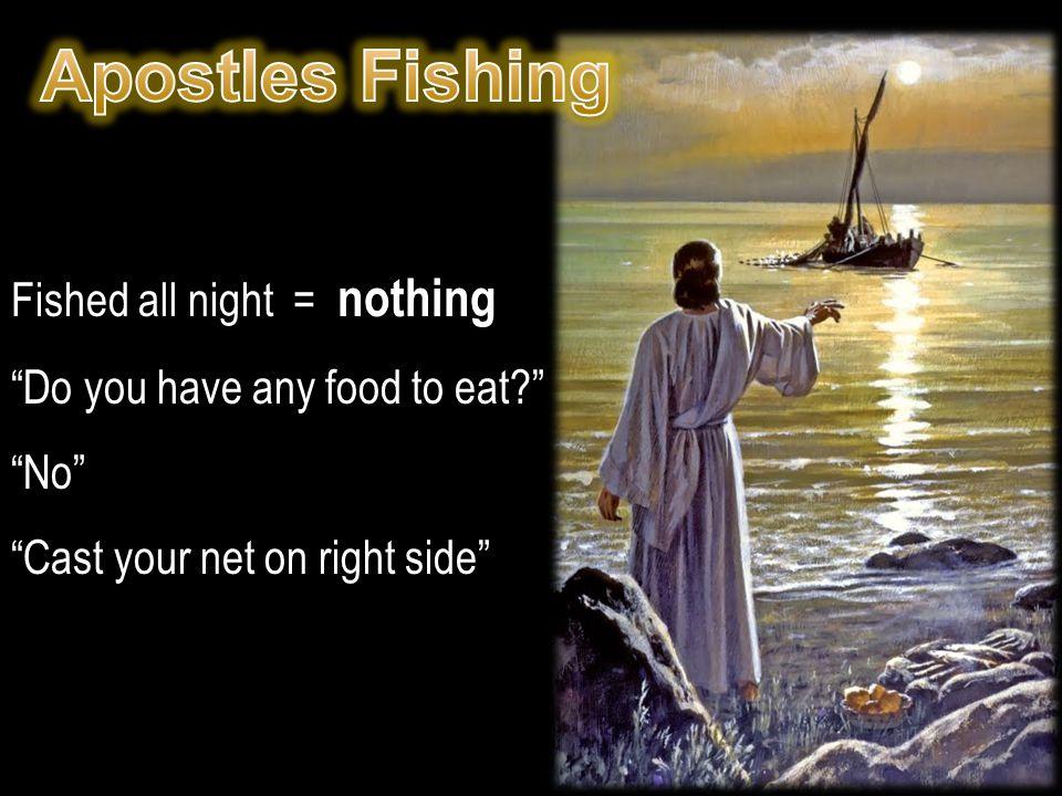Apostles Fishing Fished all night = nothing