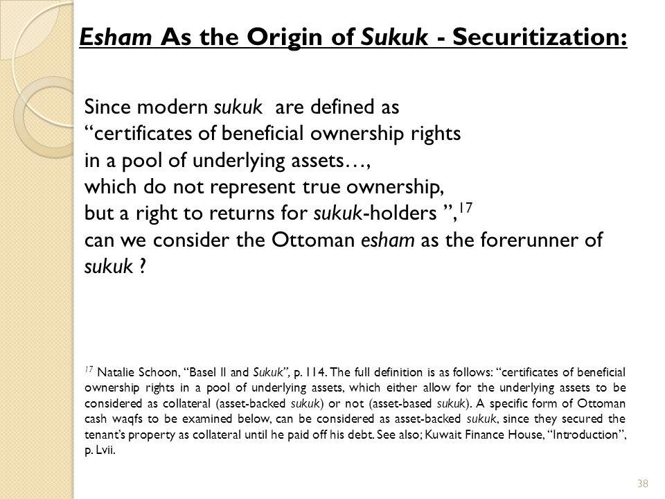 Esham As the Origin of Sukuk - Securitization: