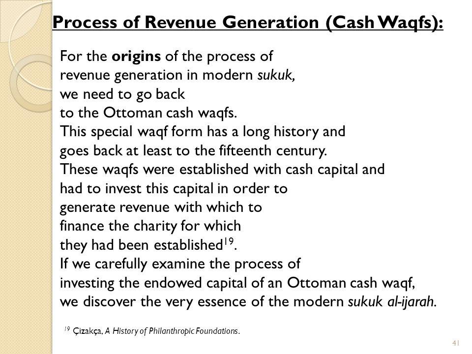 Process of Revenue Generation (Cash Waqfs):