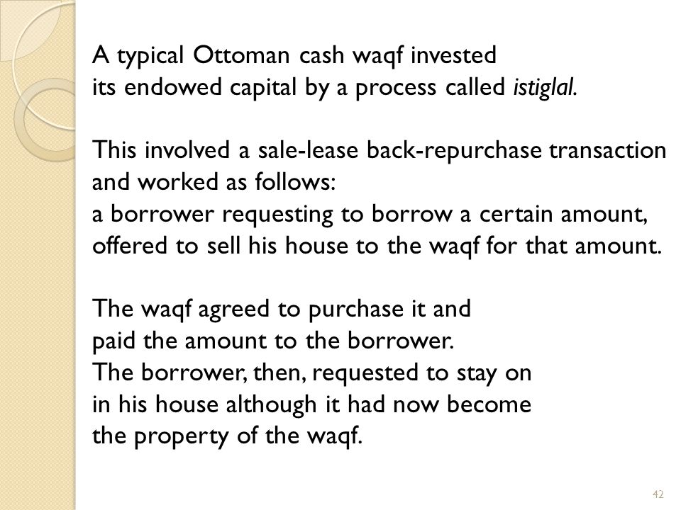 A typical Ottoman cash waqf invested